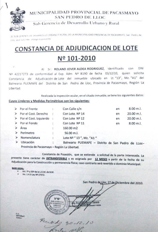 Lote 101 2010 Mpp Puemape