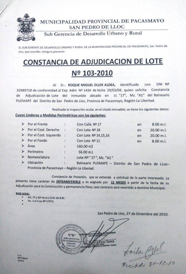 Lote 103 2010 Mpp Puemape