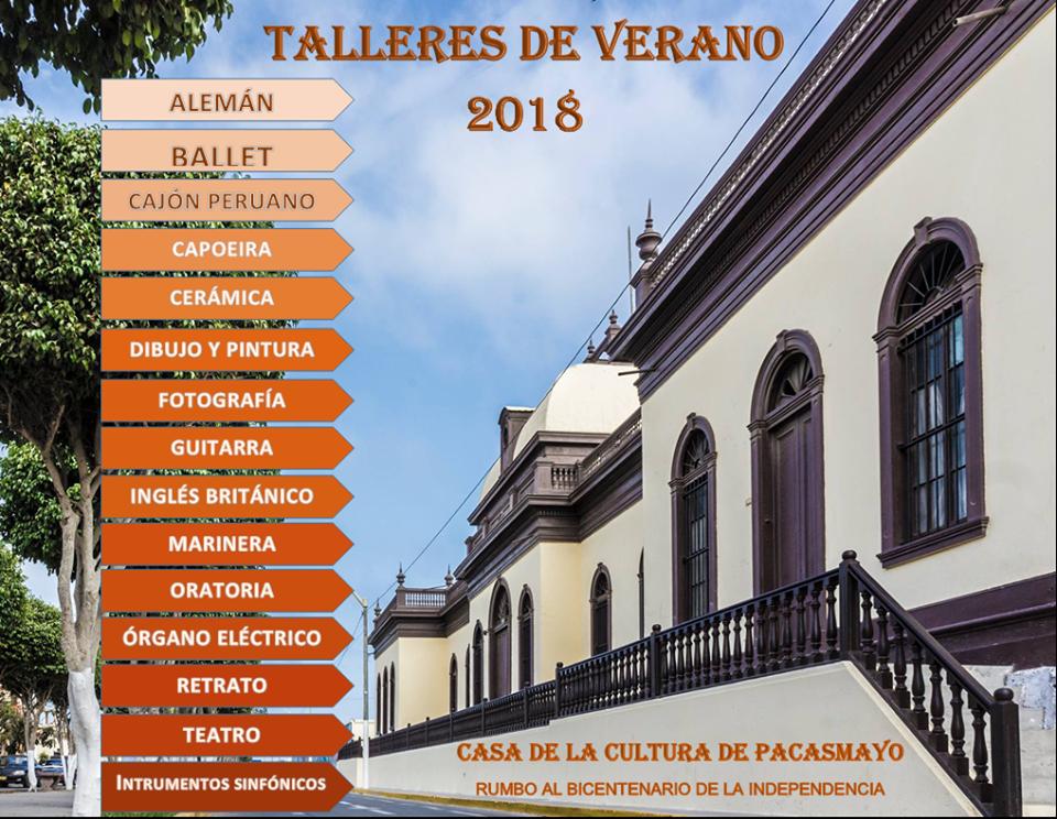 Talleres Verano Casa De La Cultura Pacasmayo