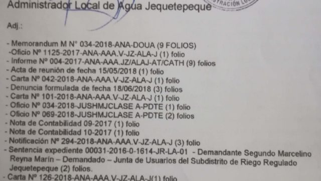 Anexos De Denuncia Junta Usuarios Ala Jequetepeque