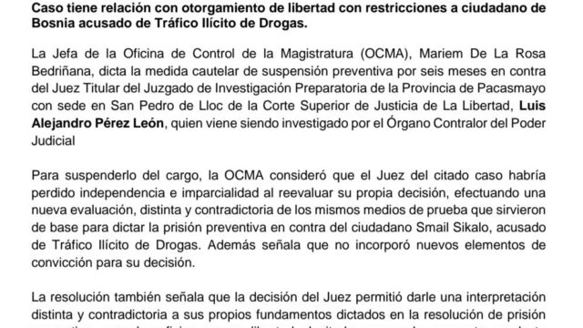 Suspension Juez Perez Leon