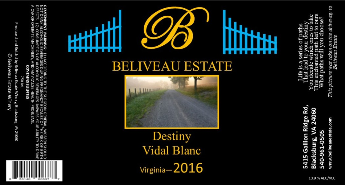 Product Image for 2016 Destiny; Vidal Blanc