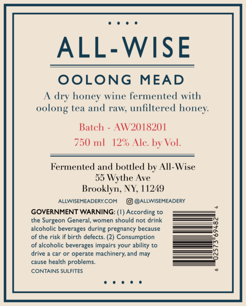 Product Image for 2018 All-Wise Oolong Mead