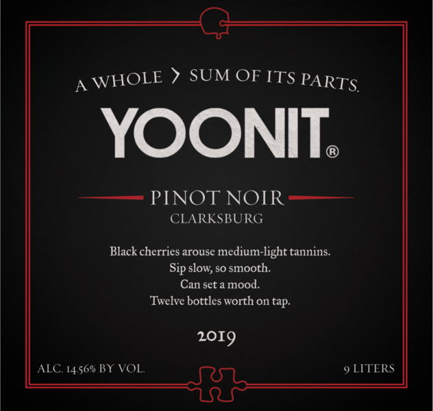 2019 Yoonit Pinot Noir - Clarksburg - 9L - Twelve Bottles Worth