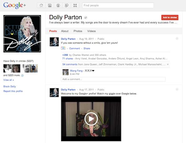 Dolly Parton on Google Plus