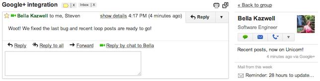 Google+ posts on Gmail