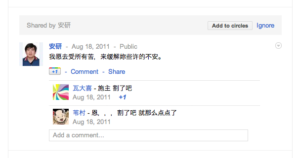 Google+ chinese post