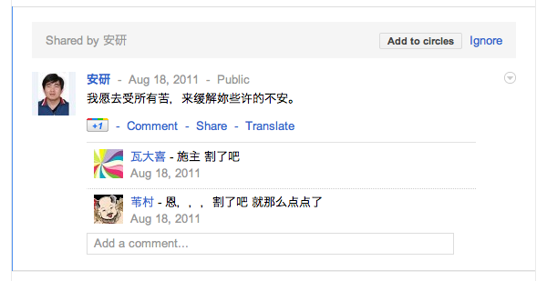 Google+ translate link