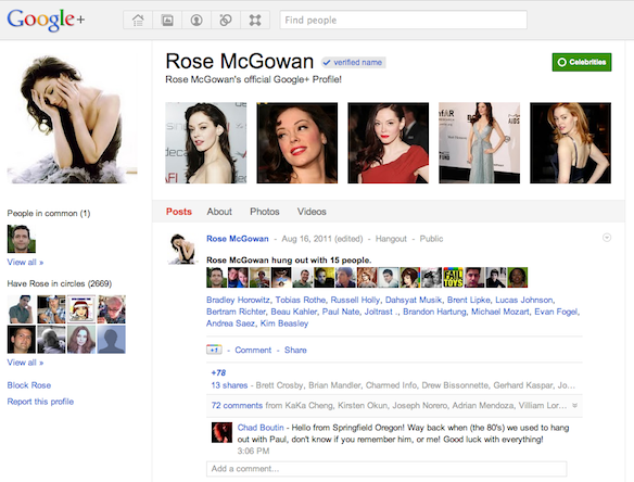 Rose McGowan on Google Plus