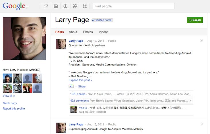 Verified google plus profiles / names