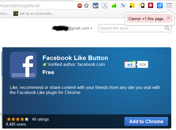 Cannot +1 facebook like button google chrome extension page on web store