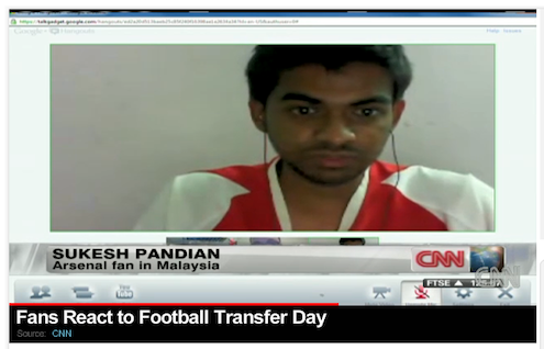 CNN is getting live feedback from a fan based in Malaysia through Google+ hangouts