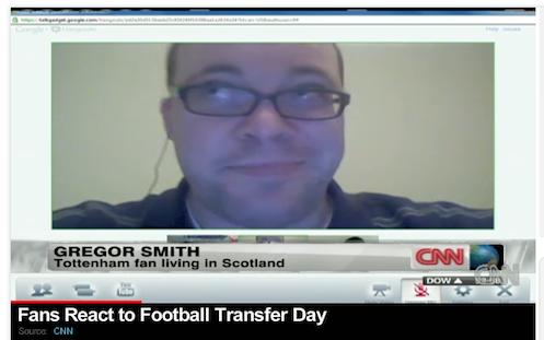 CNN viewer and sports fan from Scotland talking via Google+ hangouts