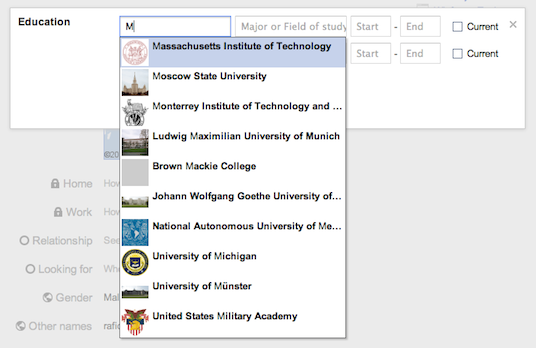 Educational institutions with logo on google+
