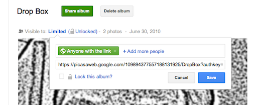Lock an album from photo's in google plus