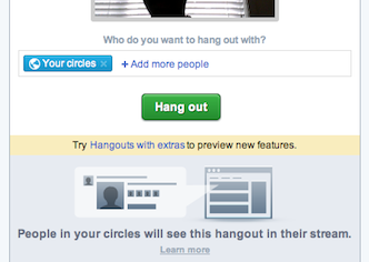 Start google+ hangouts with extras