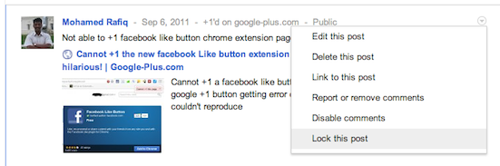 Locking or limit a post on google plus