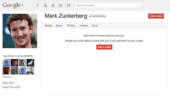 Facebook co-founder Mark Zuckerberg's google plus profile