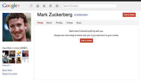 Facebook Co-founder Mark Zuckerberg's profile on Google+