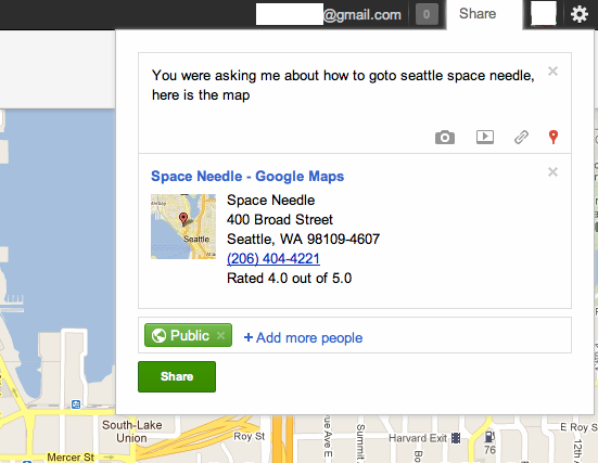 Share a location on Google+