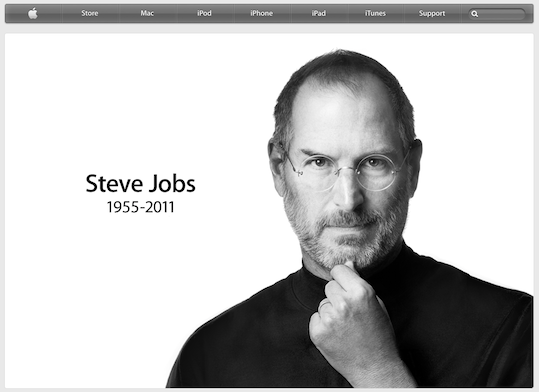 Apple.com homepage replaced with tribute to Steve Jobs