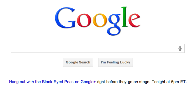 The black eyed peas hangout gets featured on google home page