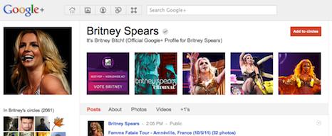 Britney Spears profile on Google+