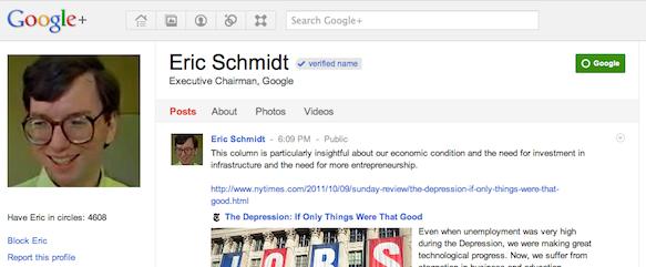 Eric Schmidt on Google+