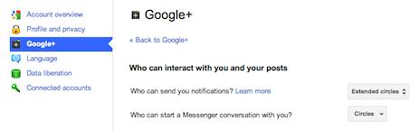 Google+ notification settings