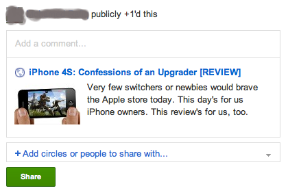 Sharing on Google+ from Google Reader