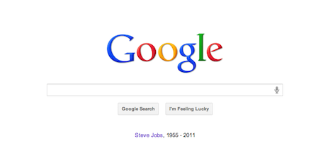 Google's home page with Steve Jobs tribute
