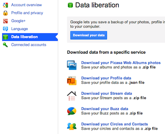 Data liberation (download export data)