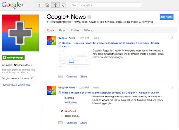 Google-Plus.com page on Google+