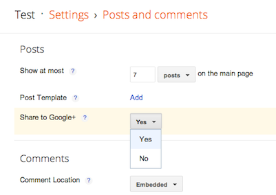 Turn Off Google+ Sharing in Blogger