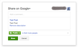 Google+ share box after publishing post