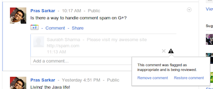 Google+ Comment Spam Moderation System Rolled Out – Spammers Stay Away!