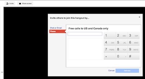Google+ hangout invite through phone dialog