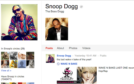 Snoop Dogg 3rd Most Followed People on Google+ Joins the Million Followers Club!