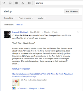 Google+ local search results with map and address
