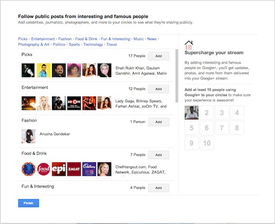 People organized by categories on Google+