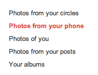 Photos from your phone section on G+