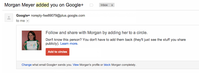 Add to Circles Right From Your Gmail Notifications Email When Someone Adds You in Google+