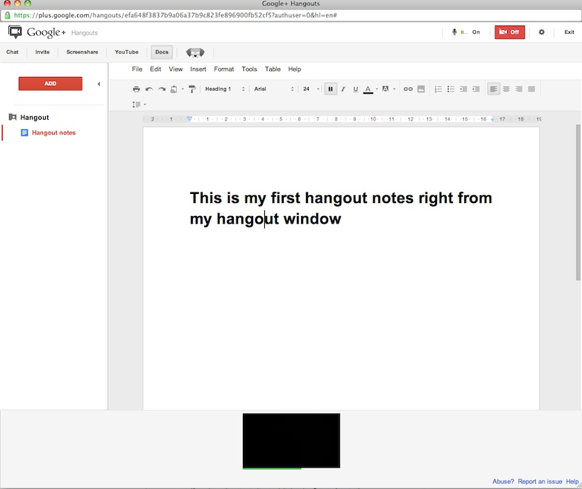 Create and share document right from hangouts