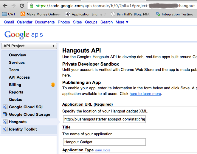 Google API console with Hangouts