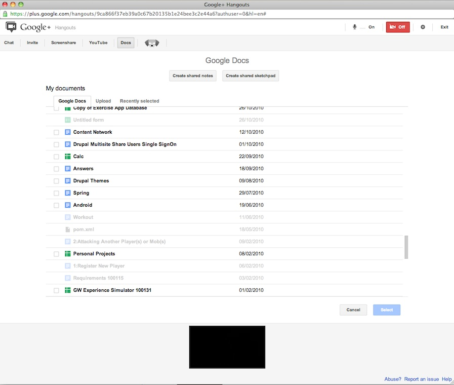 Google docs now available inside Google+ hangouts : Create, upload, collaborate or share documents right from hangouts