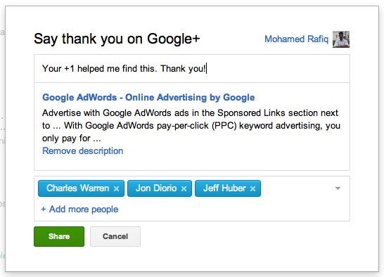 Google+ share box to say thank you for +1'ing