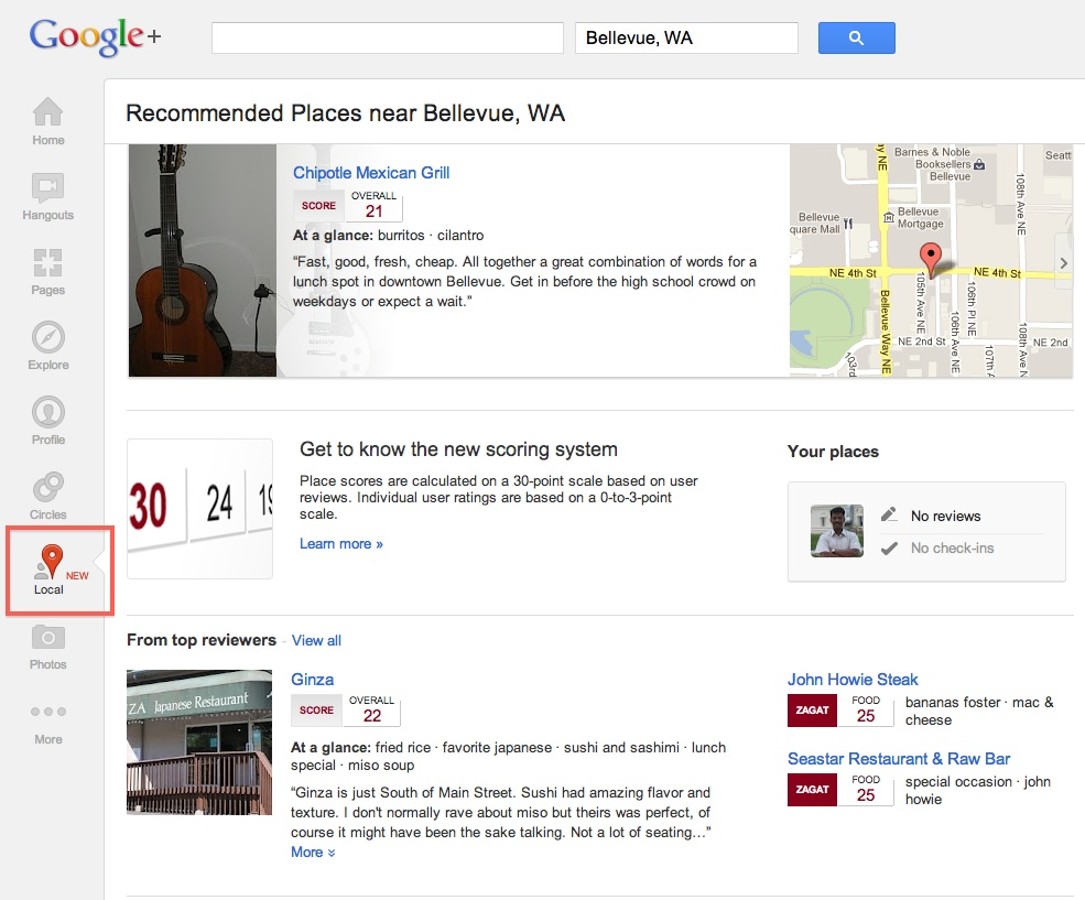 Google+ Local Released With Zagat Scores, Reviews and Recommendations