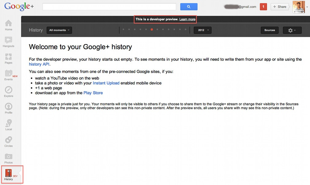 Google+ history api : Moments a google+ way of facebook timeline coming soon!