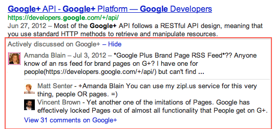 Show actively discussed beneath serp's