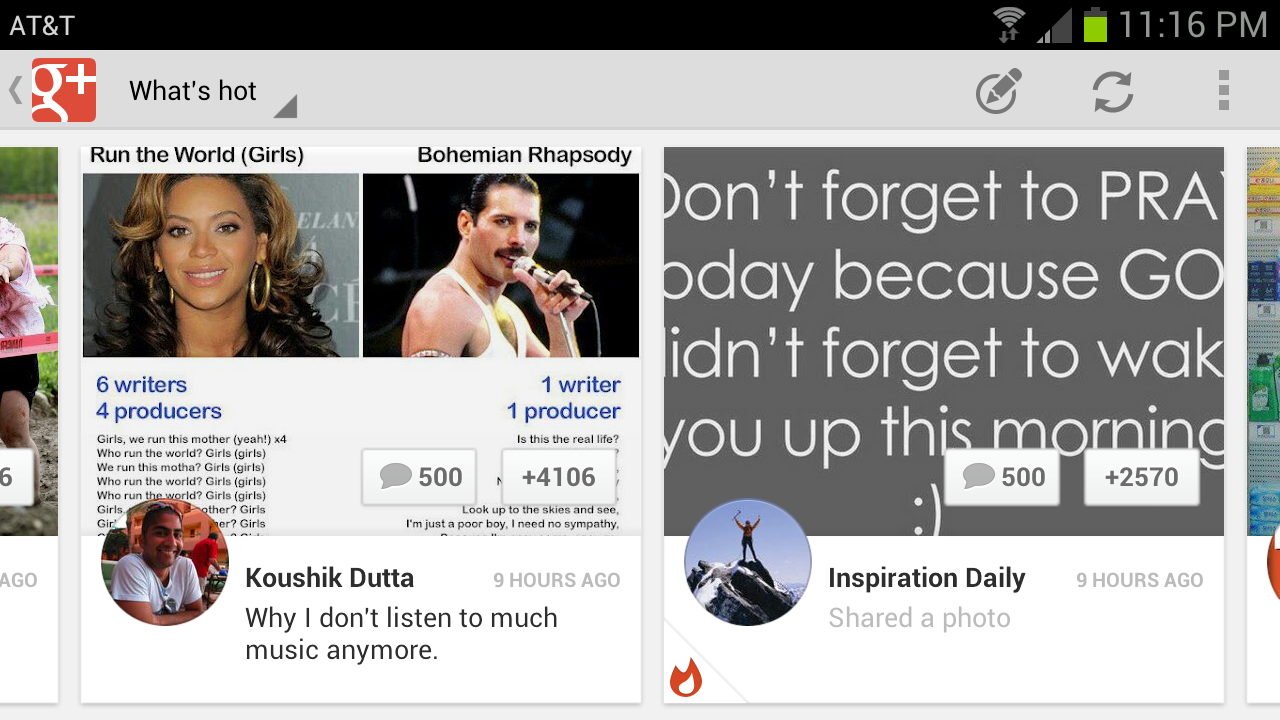 Landscape mode of google+ app in android